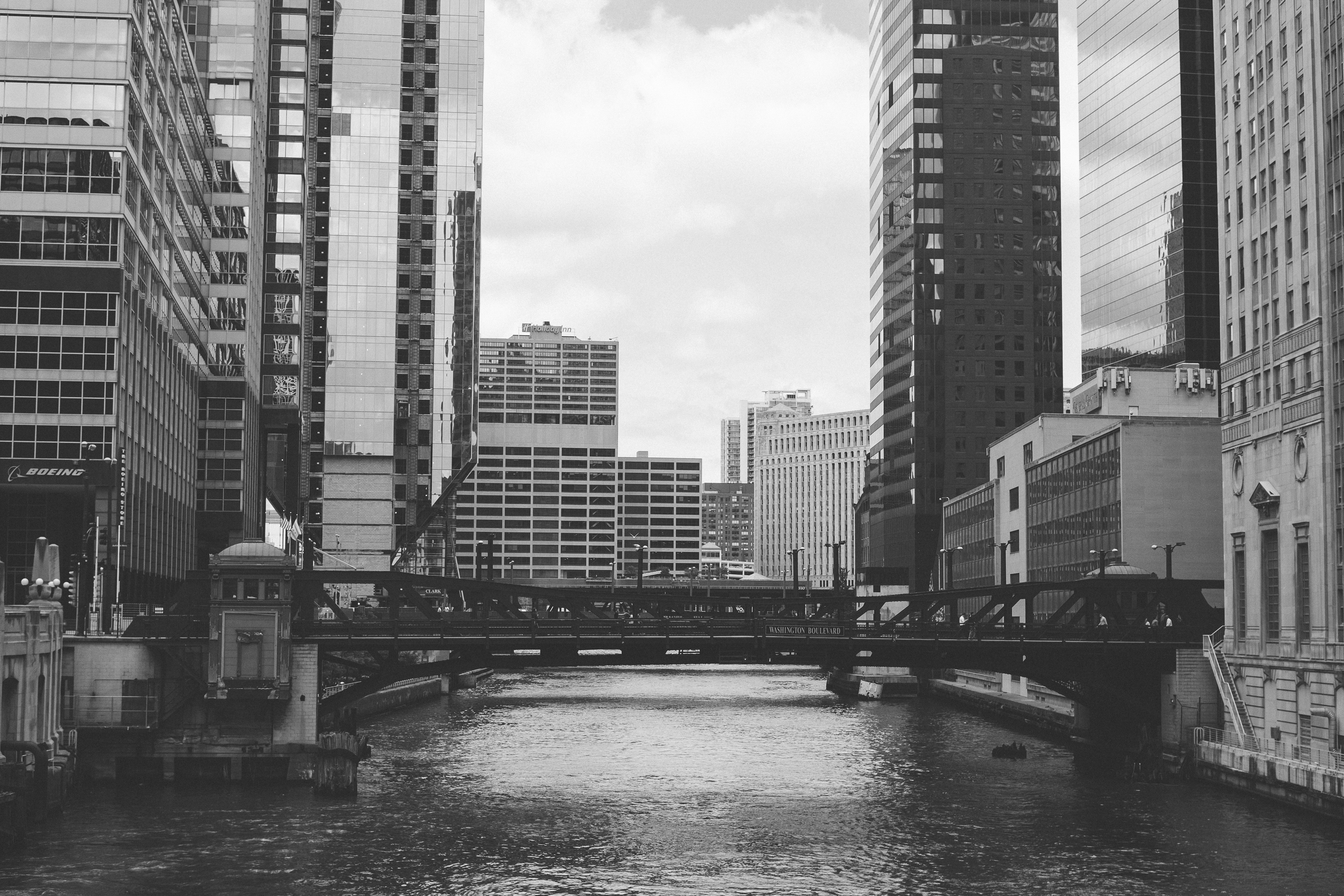 Chicago River In Black And White Free Photo On Barnimages