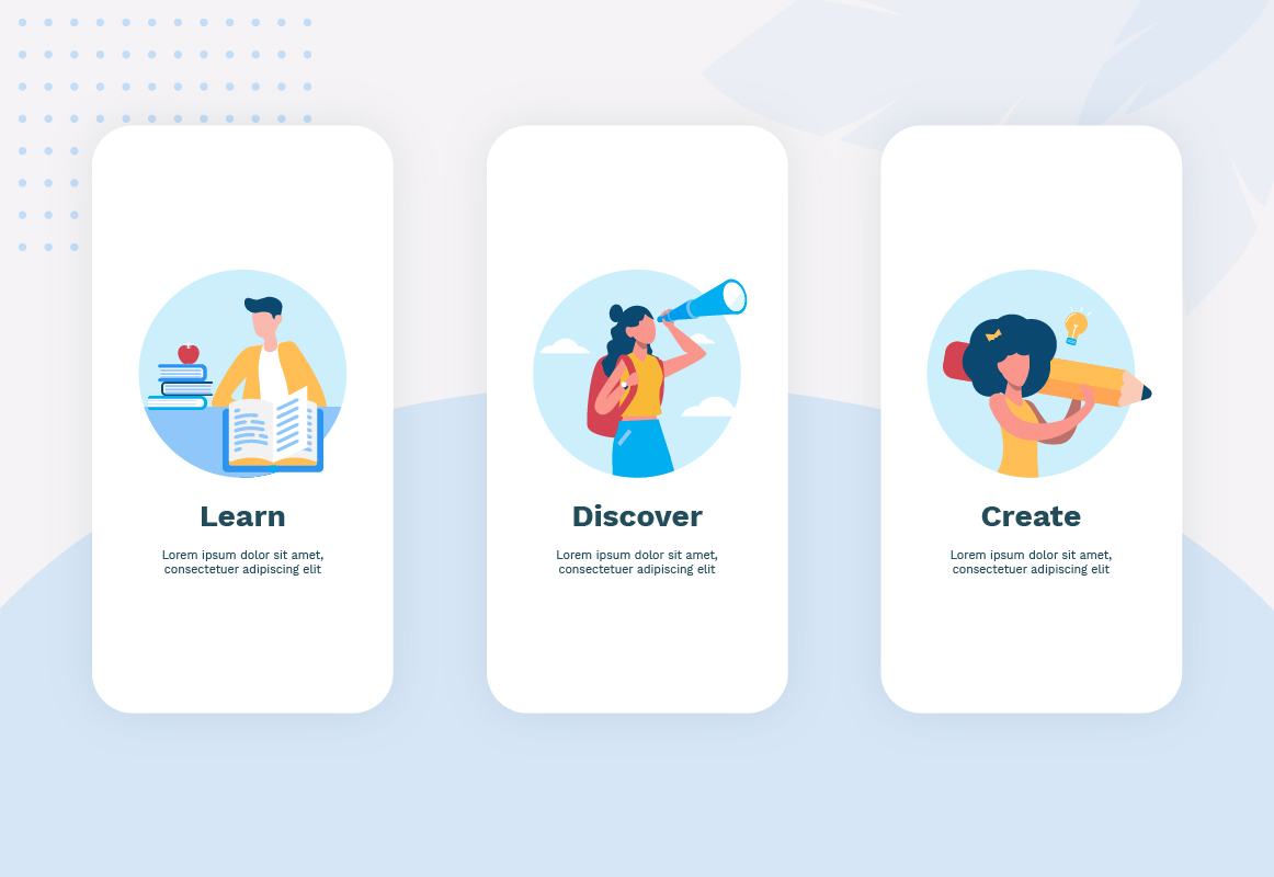 Illustrations engage the user while they navigate the flow, and reduce the likelihood that they may proceed without absorbing important information from each part of the onboarding process.