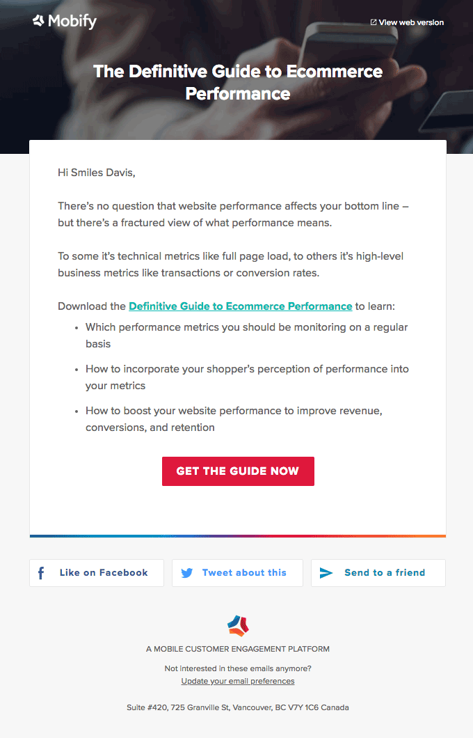 This email doesn't reference the rest of the series, but is otherwise written almost perfectly. Notice how the format of the text narrows as you read, drawing the eye to the big CTA button.